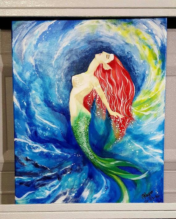Art Card Watercolour Painting,Original Art Prints Mermaid