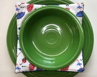 Denim Plus Umbrella Print Bowl Cozy Set of 2