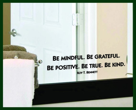 PS18 Inspirational Wall Art Roy T Bennett Be mindful Be grateful Quote Print Motivational Home Decor Posters Positive Quote Print Gift