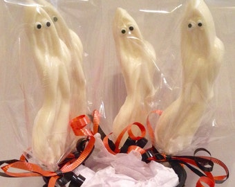 12 Chocolate Ghost Lollipops Halloween Favors Party Favors Ghost Lovers Boo Pops