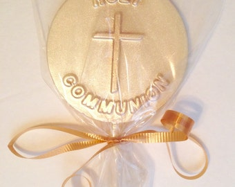 12 Chocolate Covered Cross Lolipops First Communion Religious Party Favor Church Function Inspirational Gift
