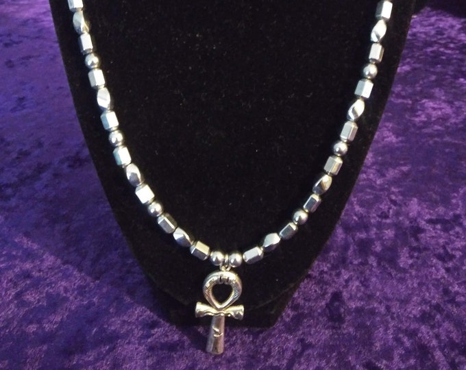 Men's Beaded Silver Hematite Necklace w/ Ankh Pendant