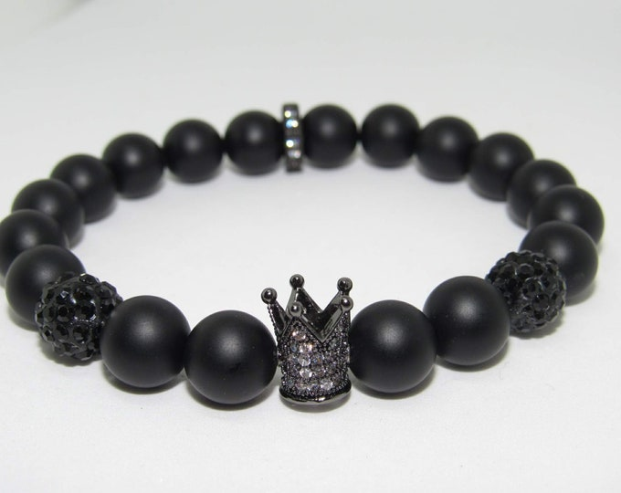 "Men's Black Onyx ""I Am King"" bracelet"