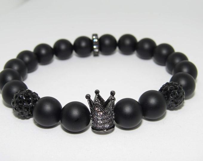 "Men's Black Onyx ""I Am King"" bracelet"