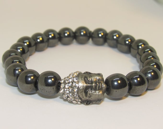 Men's 10mm Dark Hematite Buddha Energy Bracelet