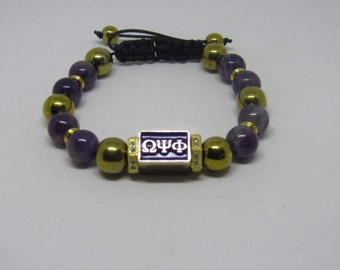 """Men's Omega Psi Phi Fraternity  Adjustable Bracelets """"Purple & Gold"""""""