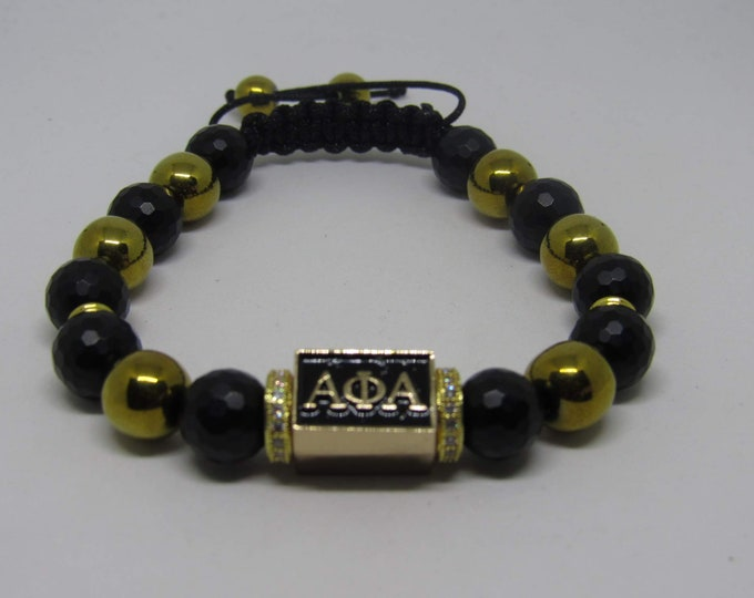 "Men's Alpha Phi Alpha Fraternity Bracelets ""Black & Gold"" Spinxmen"