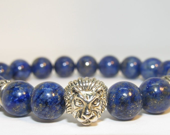 Men's 10 mm Blue Lapis Lazuli/Smooth Woodgrain Lion head Bracelet