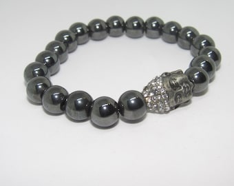 Ladies 8mm Buddha Hematite Energy Bracelet