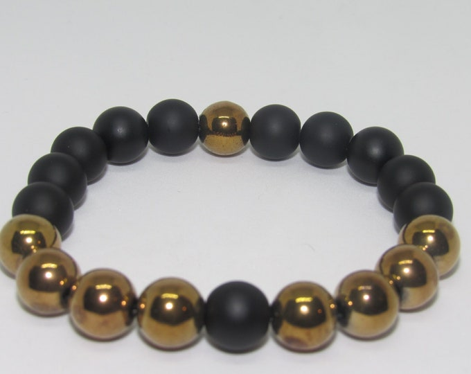 Men's Copper & Black Hematite Bracelet