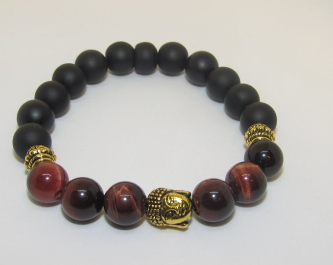 Men's Calming Red Tiger Eye Buddha Bracelet