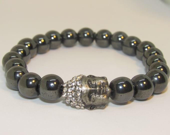 Men's 10mm Dark Hematite Buddha Energy Bracelet