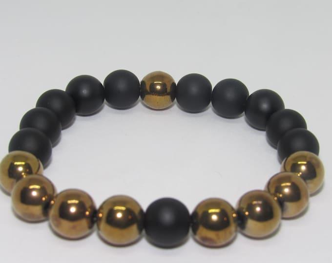 Men's Copper & Black Hematite Bracelet