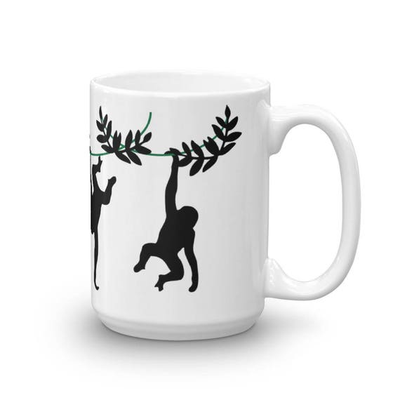 Monkey Coffee Mug Swinging Monkeys Monkey Silhouette Tree Etsy