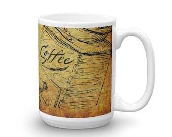MUG - Coffee, Tea, Hot Chocolate, Sepia, Olden, Distressed, Ceramic