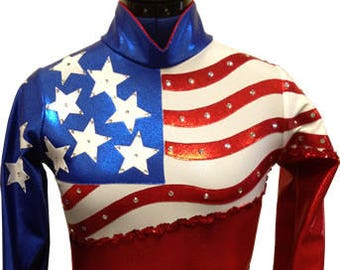 Patriotic Waves -- Arena Rodeo Queen Shirt -- Sizes Child 5/6 - Adult XLarge