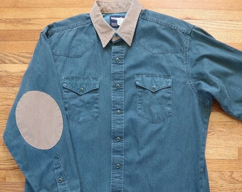 Vintage Wrangler Snap Long Sleeve Shirt Elbow Patches