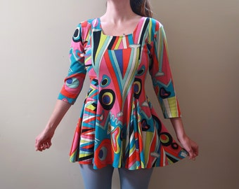 Vintage 90s does 60s Psychadelic Print Dress Contempo Casuals Short Flaired  - SM MED 55ef1638b