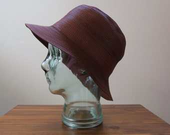 3399679a906 Vintage 90s Designer Brown Cognac Leather Bucket Hat Malleable High Quality  - Large