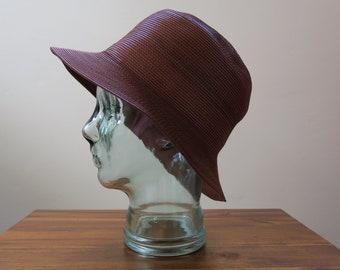 d590a832560 Vintage 90s Designer Brown Cognac Leather Bucket Hat Malleable High Quality  - Large