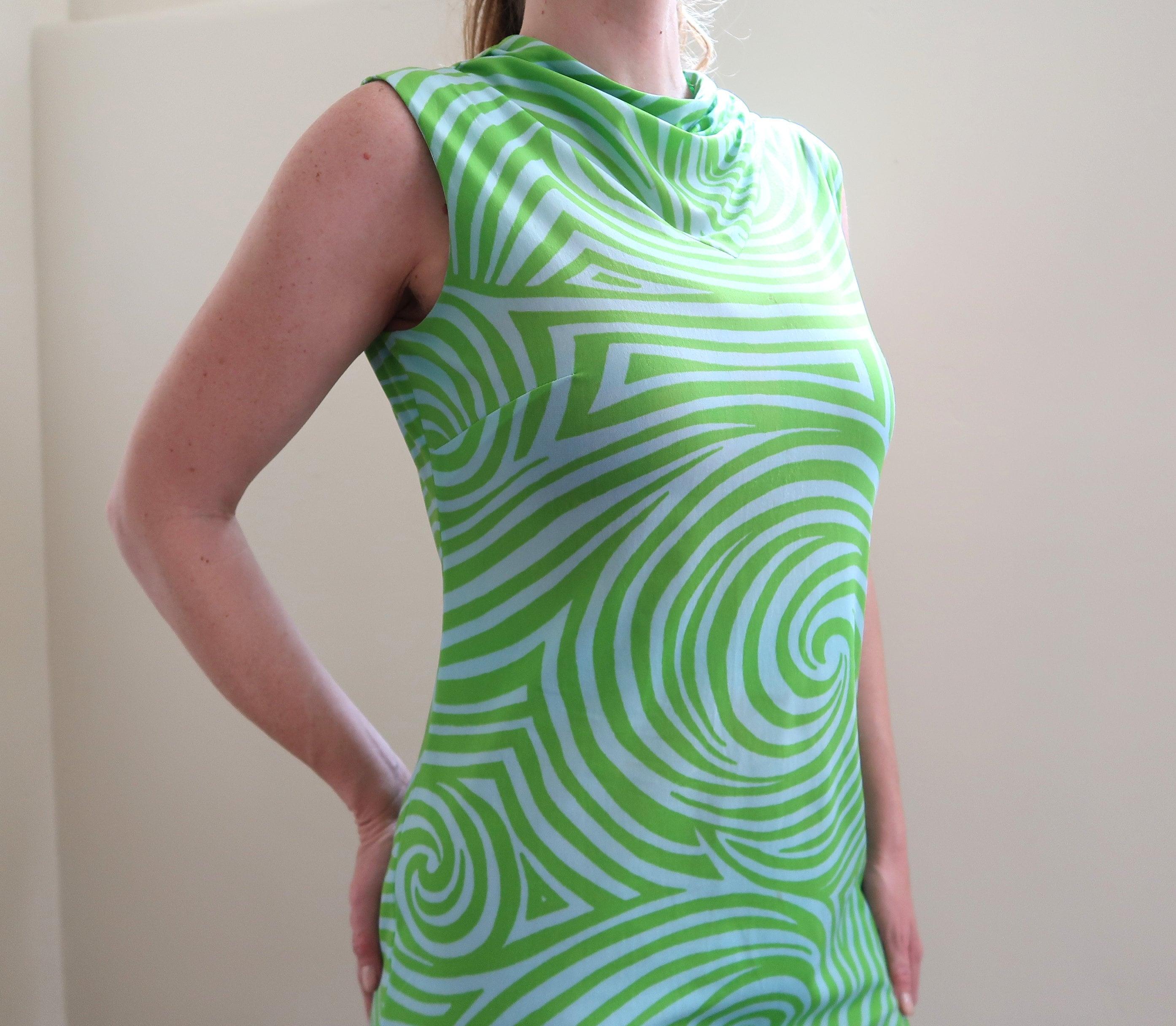 Vintage 60s Psychedelic Print Mod Saks Fifth Avenue Shift Dress SMMED