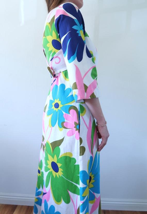 Vintage 60s Empire Waist Maxi Dress Huge Flower P… - image 5