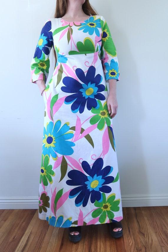 Vintage 60s Empire Waist Maxi Dress Huge Flower P… - image 2