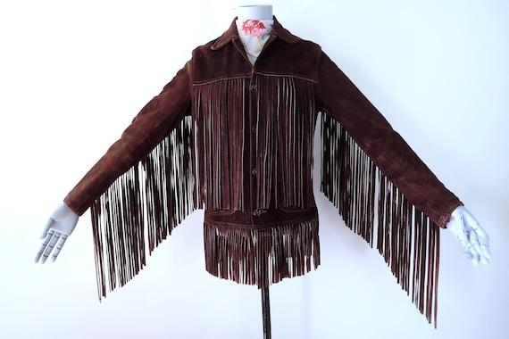 Vintage 60s Brown Suede Fringe Leather Jacket SM