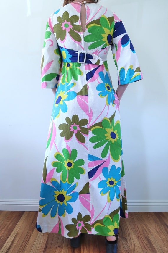 Vintage 60s Empire Waist Maxi Dress Huge Flower P… - image 6