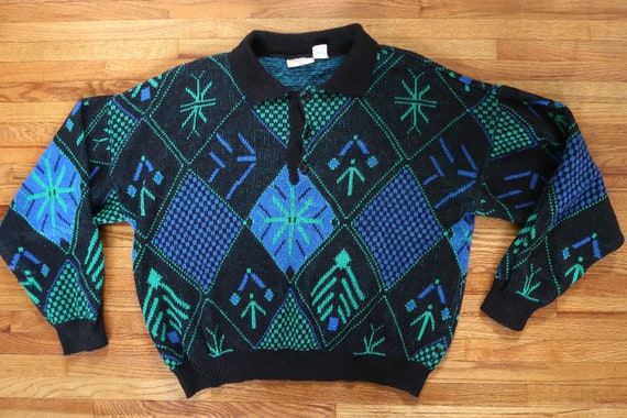 Vintage 80s Oversized Geometric Sweater