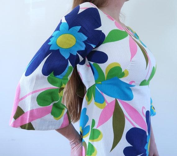 Vintage 60s Empire Waist Maxi Dress Huge Flower P… - image 4