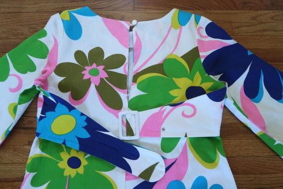 Vintage 60s Empire Waist Maxi Dress Huge Flower P… - image 9