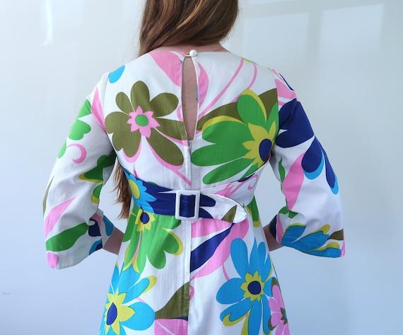Vintage 60s Empire Waist Maxi Dress Huge Flower P… - image 7