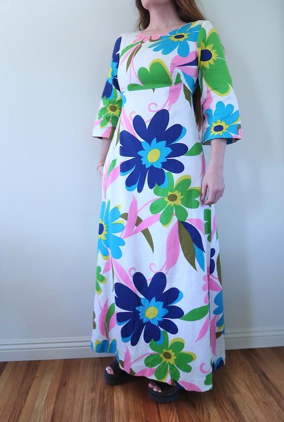Vintage 60s Empire Waist Maxi Dress Huge Flower P… - image 1
