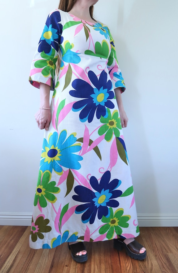 Vintage 60s Empire Waist Maxi Dress Huge Flower P… - image 3