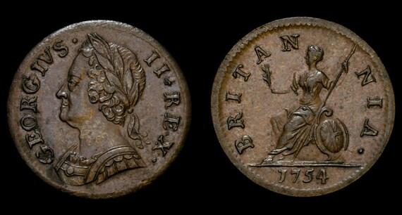 Antike Englische Münze Echte George Ii Farthing 1754 Etsy
