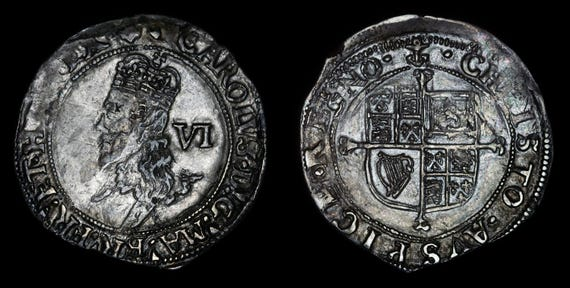 Antike Englische Münze Echt Charles Ich Solid Silver Sixpence Etsy