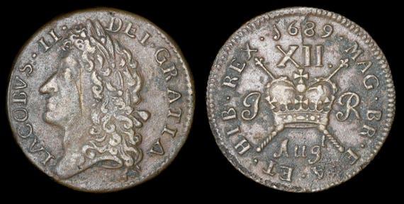 Alte Englische Münze Antik Echte James Ii August 1689 Irischen Etsy