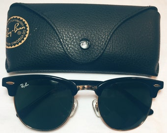 c08e5c85a4 Vintage Ray Ban Clubmaster Gloss Sunglasses 3016 Bright Black Gold