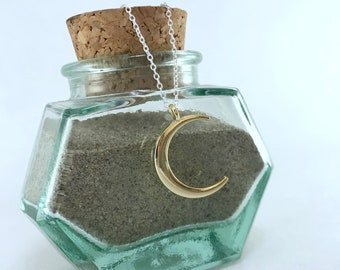 Mixed Metal Crescent Moon Necklace