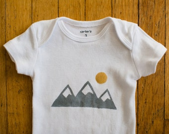 baby clothes, mountains + sun baby onesie in grey and gold, 0 to 3 months short sleeve