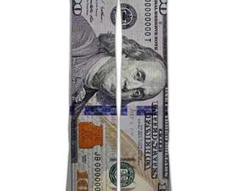 208760321b05 Custom elite socks 100 dollar bill Benjamin Franklin - Unisex Men and Women  crew socks