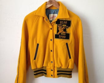Vintage 50s/60s Women's Hatchers Wool Letterman Bear Band Jacket - Size Medium/Large - Made in USA