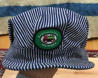 Vintage Brio Engineers Club Member Railroad Striped Engineer Hat - NWOT 84008589d08e