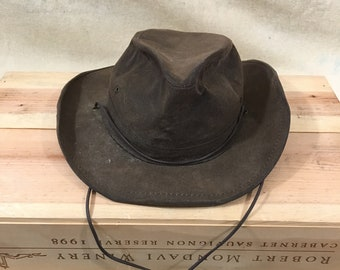 e63c5aa6 Vintage Henschel Hatquarters Outback Brown oiled Leather Hat - XL - Made in  USA