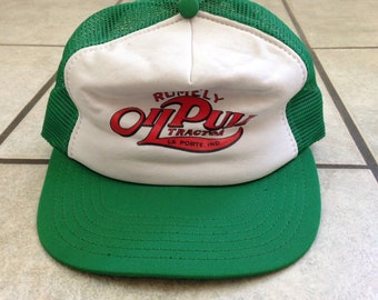 73e2336f1ebbd Vintage Rumely Oil Pull Tractor Green and White Mesh Trucker Hat