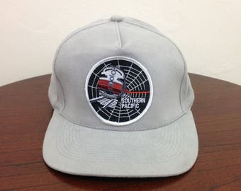 Vintage Southern Pacific Black Widow Railroad Front Patch Strapback Hat