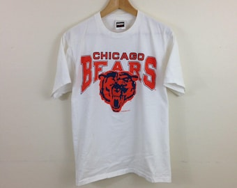 Vintage 90s Chicago Bears NFL Football White T-Shirt - Size Medium / Large - Made in USA