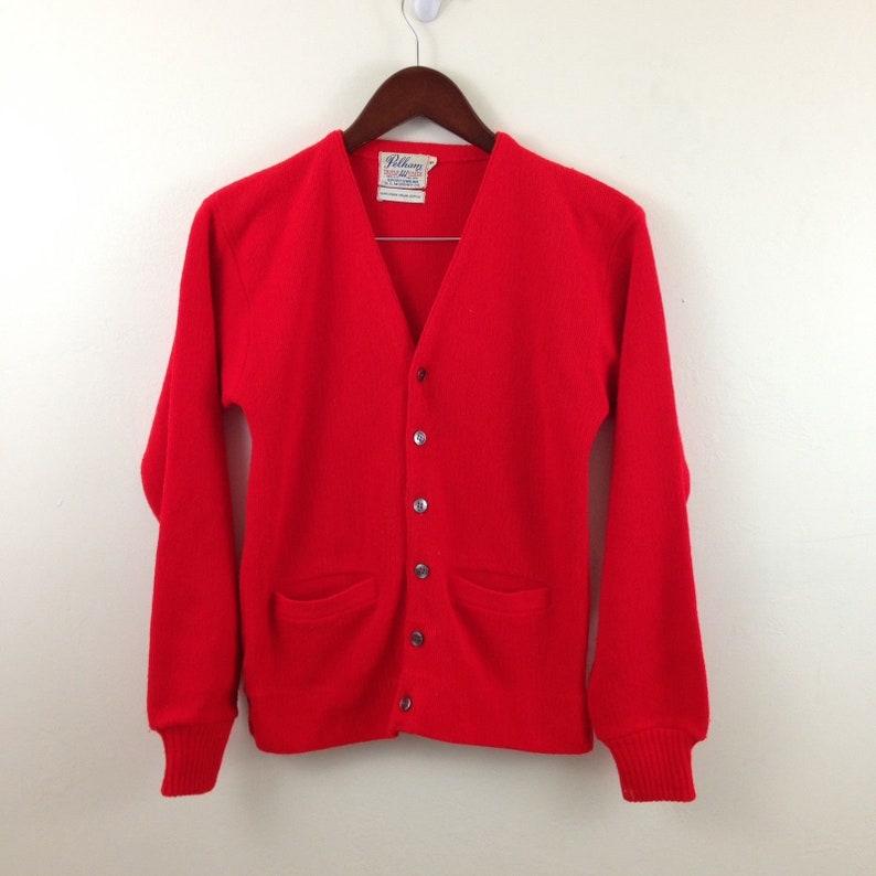 83b944117 Vintage 1950s Bright Red Orlon Acrylic Cardigan Sweater Size