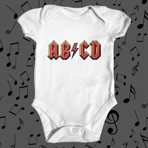 ABCD AC DC baby Body Body bébé drôle Body bébé mignon  56cfc8ffc14